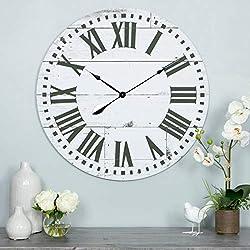 MISC Shiplap Wall Clock Black White Rustic Theme Farmhouse French Country Ship Lap Pattern Coastal Hanging Clocks, Wood