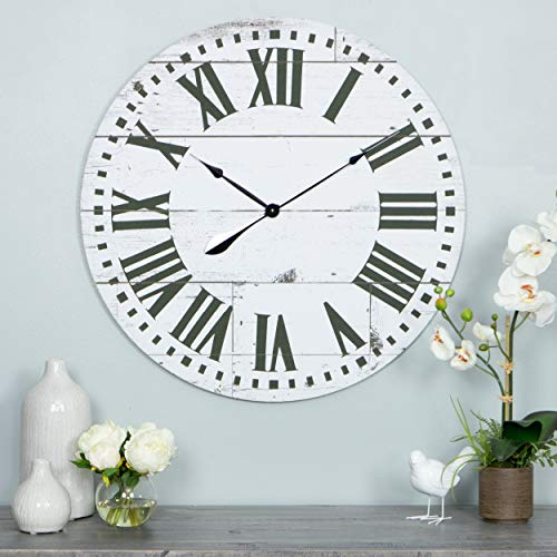 MISC Shiplap Wall Clock Black White Rustic Theme Farmhouse French Country Ship Lap Pattern Coastal Hanging Clocks, Wood