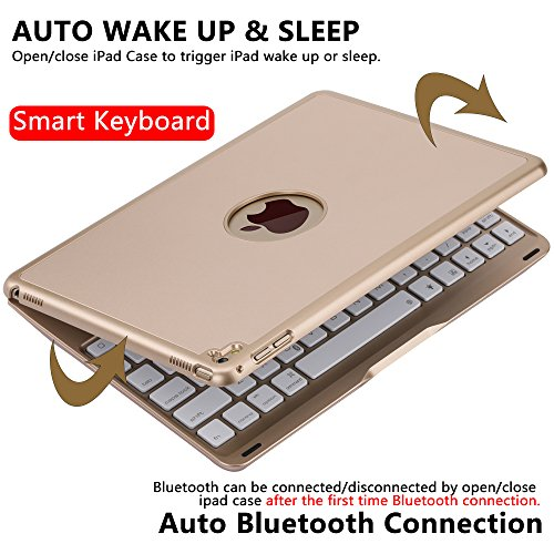 Ipad Pro 9.7 Keyboard Case, NOVT Aluminum Alloy Ultra Thin Smart Bluetooth Wireless Keyboard 7 Color Led Backlit with Protective Case Cover Stand Auto Sleep/Wake for Apple iPad Pro 9.7 Inch (Gold) by NOVT (Image #3)'