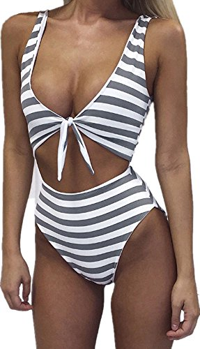 (Women High Waisted Swimsuit Sexy One Piece Padded Bikini Swimwear Tie Front, Medium, Grey)