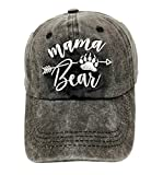 LOKIDVE Mama Bear Arrow Baseball Hat Embroidered Women's Washed Denim Mom Cap
