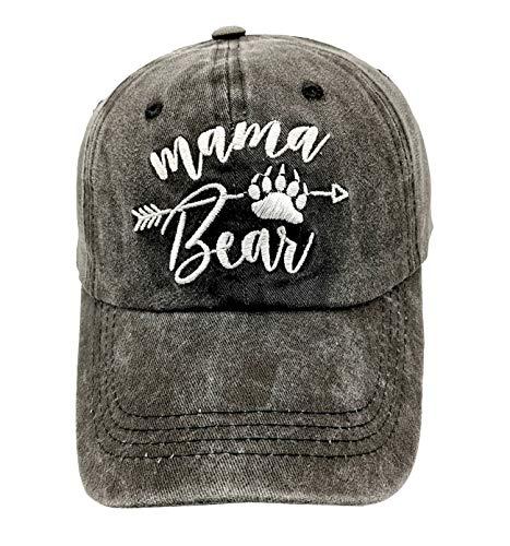 - LOKIDVE Mama Bear Arrow Baseball Hat Embroidered Women's Washed Denim Mom Cap