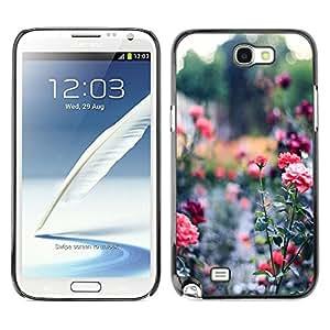 Caucho caso de Shell duro de la cubierta de accesorios de protección BY RAYDREAMMM - Samsung Galaxy Note 2 N7100 - Garden Green Royal Thorn