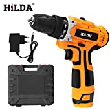 Hilda 12V Electric Drill with Rechargeable Lithium Battery Electric Screwdriver Cordless Screwdriver Two-Speed Power Tools (12V)
