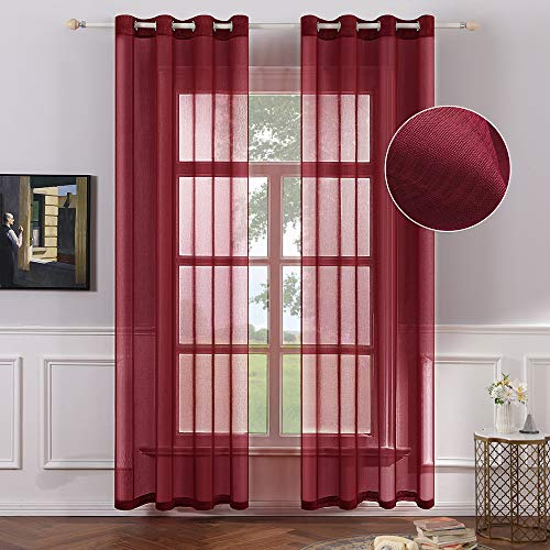 (MIULEE 2 Panels Red Semi Sheer Window Curtains Elegant Decoration Grommet Top Window Voile Panels/Drapes/Treatment Linen Textured Panels for Bedroom Living Room (54X108 Inches))