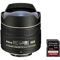 Nikon (2148) 10.5mm F/2.8G ED-IFAF DX Fisheye Lens + Sandisk Extreme PRO SDXC 128GB UHS-1 Memory Card