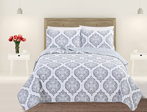 (Home Fashion Designs Arabesque Collection 3-Piece Luxury Quilt Set with Shams. Soft All-Season Microfiber Bedspread and Coverlet with Unique Pattern Brand. (Twin, Grey))