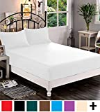 Elegant Comfort  Premium Hotel 1-Piece, Luxury & Softest 1500 Thread Count Egyptian Quality Bedding Fitted Sheet Deep Pocket up to 16inch, Wrinkle and Fade Resistant Queen White