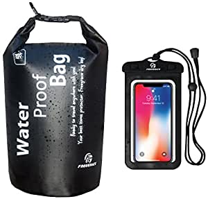 Freegrace Waterproof Dry bag - Lightweight Dry Sack with Seals and Waterproof Case -Float on Water -Keeps Gear Dry for Kayaking, Beach, Rafting, Boating, Hiking, Camping and Fishing (2L, Black)