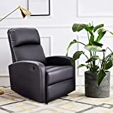 Giantex Manual Recliner Chair PU Leather Padded Seat Modern Chaise Couch Lounger Sofa for Living...