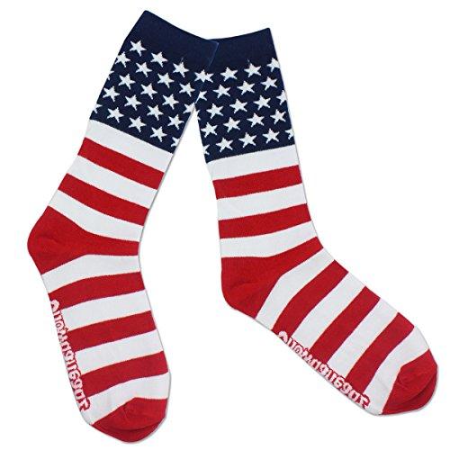 Stars & Stripes USA Crew Socks by Chowdaheadz, Multi-color, One size fits all