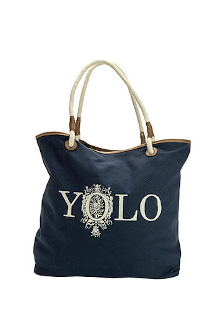 2PC, Yolo Large Navy Rope Handled Tote