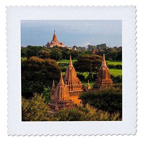 3dRose Danita Delimont - Temples - Ancient temples and pagodas at sunrise, Bagan, Mandalay, Myanmar - 12x12 inch quilt square (qs_276702_4) ()