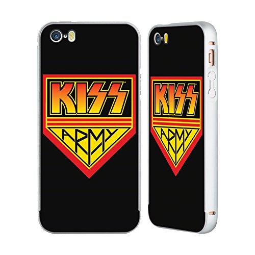 Officiel Kiss Army Logo Argent Étui Coque Aluminium Bumper Slider pour Apple iPhone 5 / 5s / SE
