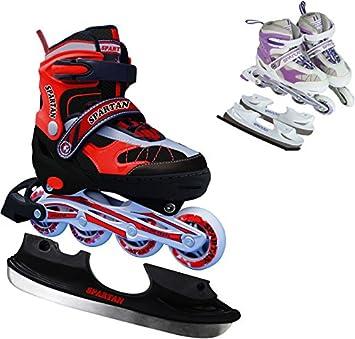 Spartan - Patines en línea 2 en 1 con ruedas y cuchilla para patinaje sobre hielo (regulables, talla 30-33): Amazon.es: Deportes y aire libre