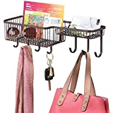 mDesign Wall Mount Mail, Letter, Magazine Holder, Key Rack, and Accessory Organizer for Entryway, Hallway, Mudroom – Strong Steel Wire Design, Medium, Bronze