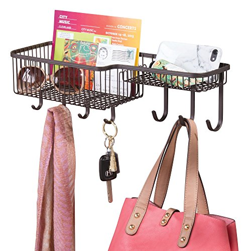 mDesign Wall Mount Mail, Letter, Magazine Holder, Key Rack, and Accessory Organizer for Entryway, Hallway, Mudroom – Strong Steel Wire Design, Medium, Bronze by mDesign