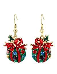 Ever Faith Gold-Tone Austrian Crystal Bowknot Christmas Gift Bag Dangle Earrings Red N04579-1