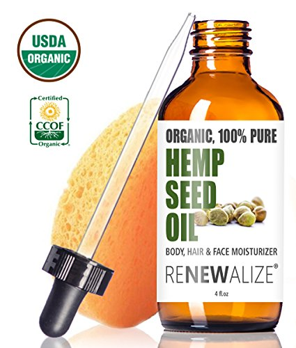 USDA-Certified-Organic-HEMP-SEED-OIL-Facial-Moisturizer-in-LARGE-4-OZ-DARK-GLASS-BOTTLE-100-Pure-Cold-Pressed-and-Unrefined-Best-Daily-Skin-Moisturizer-for-Acne-Prone-Skin-Will-Not-Clog-Pores