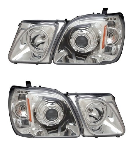 LEXUS LX470 98-07 PROJECTOR HEADLIGHT HALO W/O CCFL BAR CHROME CLEAR AMBER CCFL