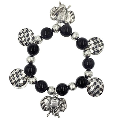 Elephant Head Charms & Houndstooth Disk Stretch Bracelet (Black & Silver Tone) (Charm Red Bracelet Hat)