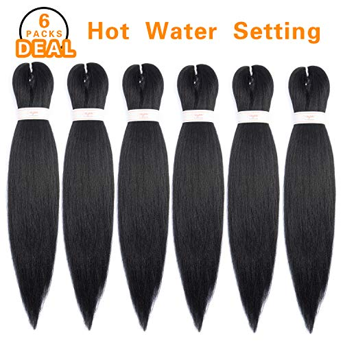 Synthetic Hair Braiding - Pre-stretched Braiding Hair Professional Itch Free Synthetic Fiber Corchet Braids Yaki Texture Hair Extensions EZ Braid 6 packs 22 Inch (#1B)