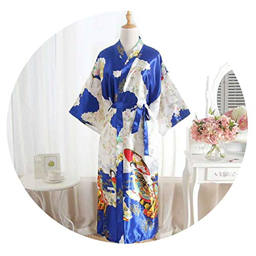 (Silk Satin Wedding Bride Bridesmaid Robe Floral Bathrobe Long Kimono Robe Vintage,Dark Blue)