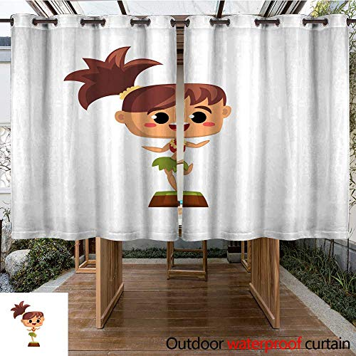RenteriaDecor 0utdoor Curtains for Patio Waterproof Happy Smiling Hawaiian Girl Dancing Hula in Traditional Costume Vector Illustration on a White Background W63 x -