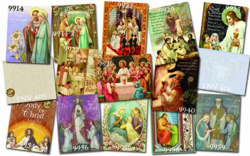 Sacraments Religious Note Card Set Box of 12 Different with Heavenly Envelopes Free Cross Bookmark