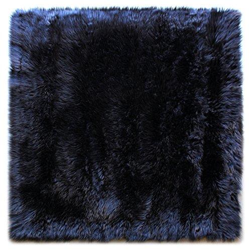 Masada Rugs, Faux Sheep Fur Shag Square Area Rug Black (4 Feet X 4 Feet) Square