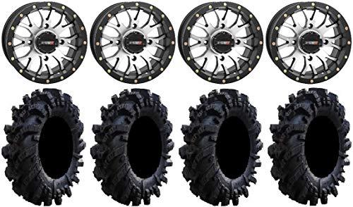 "Price comparison product image Bundle - 9 Items: System 3 ST-3 Machined 14"" Wheels 26.5"" Intimidator Tires [4x110 Bolt Pattern 12mmx1.25 Lug Kit]"