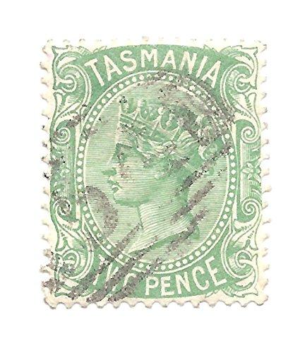 1878 Tasmania Postage Stamp 2 Pence Deep Green Queen Victoria Scott #61