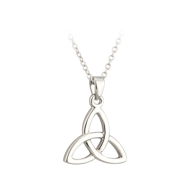 Amazon Lucky Trinity Knot Necklace Rhodium Plated Irish Pendant
