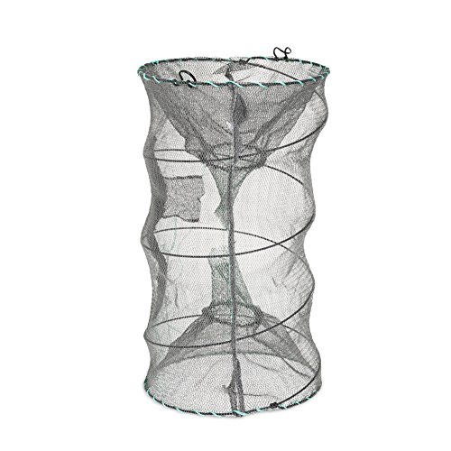 ded Fishing Net Zipper Net Shrimp Carp Crayfish Crab Baits Cast Mesh Trap, Black (Crab Trap Bait)