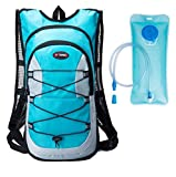 Cheap Shimmery Hydration Pack Backpacks with 2.0L Bladder for Hiking, Biking, Running, Walking and Climbing Cyan