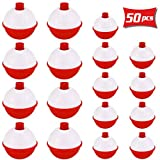 """100 1.25/"""" FISHING BOBBERS Round Floats Red White SNAP ON FLOAT Bulk Pack"""