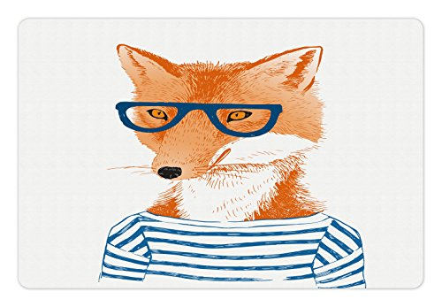 Fox Food (Modern Pet Mats for Food and Water by Lunarable, Hipster Woman Fox with Glasses and Striped Shirt Humor Character Animal Print, Rectangle Non-Slip Rubber Mat for Dogs and Cats, Blue Orange White)