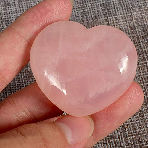 Natural Rose Quartz Pocket Puff Heart Worry Healing Palm Stone Pack of 1(45mm)