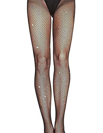 0d0fb65a15cd5 Black Fishnet Diamante Rhinestones Fish Net Tights Amber Rose Collection:  Amazon.co.uk: Clothing