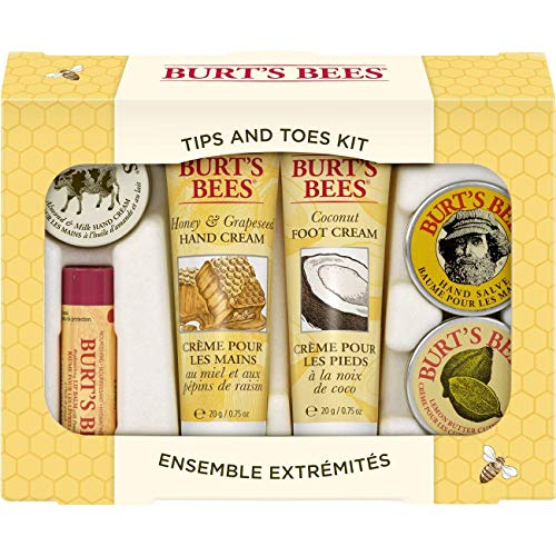 Burt's Bees Tips and Toes Kit Holiday Gift Set, 6 Travel Size Products in Gift Box - 2 Hand Creams, Foot Cream, Cuticle Cream, Hand Salve and Lip Balm