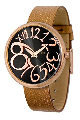 Moog Paris Ronde Art-Deco Women's Watch with Black & Rose Gold Dial, Interchangable Bronze Strap in Fabric - M41671-009 ()