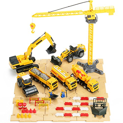 Construction Site Vehicles Toy Set, Engineering Tractor and Digger Playset, Crane, Dump, Truck, Excavator, Steamroller for Age 3, 4, 5, 6, 7, 8 Year Olds Toddler, Boy, Girl, Kid, Child - iPlay, iLearn