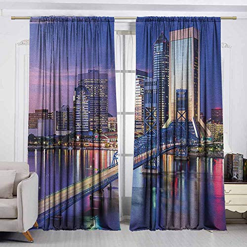 Thermal Insulated Blackout Curtains,United States,Urban Cityscape Bridge Office Buildings Jacksonville Florida,for Patio/Front Porch,W55x63L Inches Violet Blue Pale Pink Tan ()
