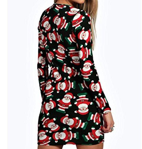 Femmes Confortables Impression Cocktail Cou Rond Moulante Robe De Soirée Noire Noël