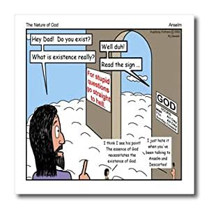 ht_2569_3 Rich Diesslins Funny Theology Cartoons - Anselm - The Nature of God - Iron on Heat Transfers - 10x10 Iron on Heat Transfer for White Material