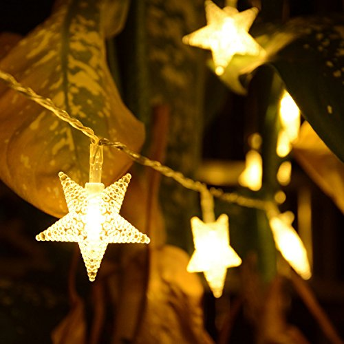 Homeleo 50 LED Warm White LED Twinkle Star Fairy Lights w/Remote Control, Battery Powered Five-Pointed Star String Lights by Homeleo (Image #2)