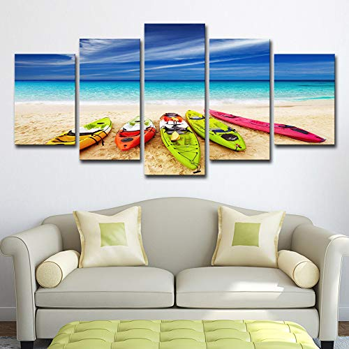 Modern Canvas Pictures Hd Printed Wall Art Frame 5 Pieces Mediterranean Style Sea Yacht Scenery Home Decoration Painting Posters 5p2486 no Frame M: 10X15-2P 10X20-2P 10X25-1P inch