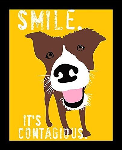 Buyartforless Framed Smile. Its Contagious Happy Dog by Ginger Oliphant 14x11 Motivational Inspirational Saying Art Print Poster