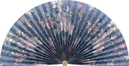 Neat Pleats Decorative Fan, Hearth Screen, or Overdoor Wall Hanging - L119 - Floral: Pinks & Silver on Blue by Woodeze