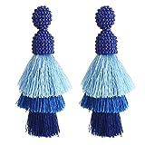 Bohemian Beaded Tassel Earrings Tiered Layered Statement Fringe Drop Earring (Blue)